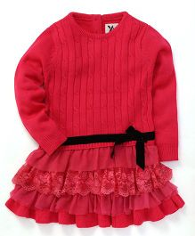 Yellow Apple Woollen Dress Frilled Pattern - Fuchsia