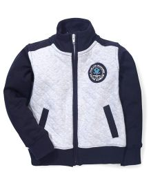 Ollypop Full Sleeves Sweatshirt Embroidered Patch - Navy Blue & Grey