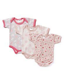 Playbeez Floral Dots & Bow Print Set Of 3 Print Onesies - Light Pink