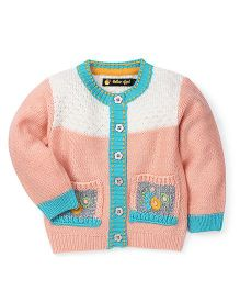 Yellow Apple Full Sleeves Cardigan Sweater - Peach