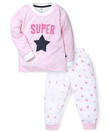 Ollypop Full Sleeves Super Star Print T-Shirt And Pants - Pink & White