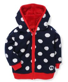 Yellow Apple Full Sleeves Hooded Polka Dot Sweater - Navy Red