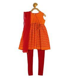 Campana Angrakha With Leggings And Dupatta - Orange And Red
