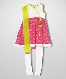 Campana Angrakha With Leggings And Dupatta - Pink And White