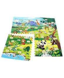 Baby Animal Print Puzzle Set Jungle Theme Multicolor - 4 Pieces