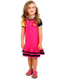 Cherry Crumble California Polo Shirt Dress - Hot Pink