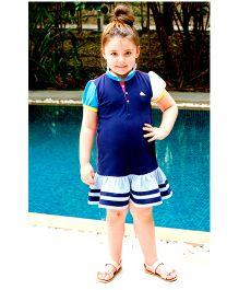 Cherry Crumble California Polo Shirt Dress - Navy Blue