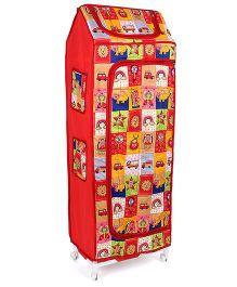 Kids Zone Hum Tum Multi Purpose Almirah Multi Print - Red