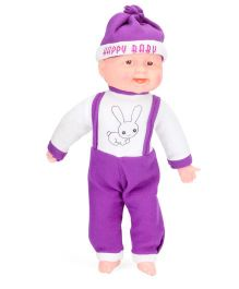 Kids Zone Laughing Doll Big Rabbit Print Purple - 18 Inches