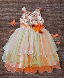 M'Princess Layered Flowing Dress With Flower - Orange