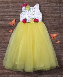 M'Princess Floral Detailing Gown - Yellow