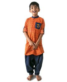 Tiber Taber Zig Zag Pathani Set - Orange & Blue