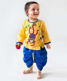 Tiber Taber Chimp Dhoti Kurta Set - Yellow & Blue