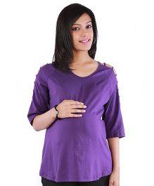 Morph Three Fourth Sleeves Maternity Top - Purple