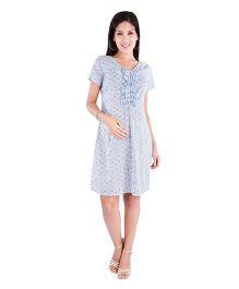 Morph Maternity Short Sleeves Floral Dress - Blue