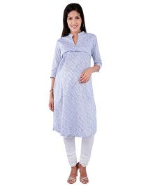 Morph Maternity Nursing Three Fourth Sleeves Kameez - Blue Grey