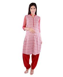Morph Maternity Nursing Geometric Three Fourth Kameez - Off White Maroon