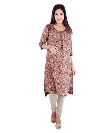 Morph Maternity Nursing Kalamkari Three Fourth Kameez - Brown