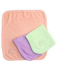 Simply Rabbit Print Napkin Purple Green Peach- Set Of 3