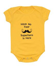Nahshonbaby Half Sleeves Onesie Superhero Print - Yellow