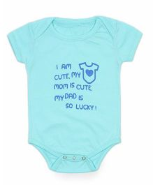 Nahshonbaby Half Sleeves Onesie Dad is Lucky Print - Blue
