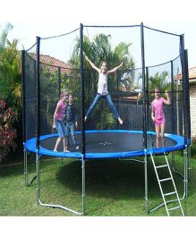 SkyJumper Trampoline With Enclosure Black Blue - 192 Inches