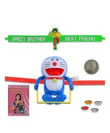 Litte India Laughing Doraemon Cartoon Toy Kids Cute Rakhi And Best Friend Quote Rakhi
