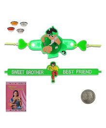 Litte India Sweet Brother Quote Stylish Rakhi And Ben 10 Design Unique LED Lighting Kids Rakhi G
