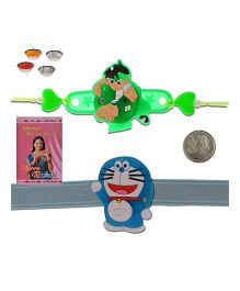 Litte India Smiling Doraemon Unique LED Lighting Kids Rakhi And Ben 10 Design Rakhi