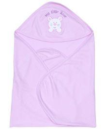 Simply Hooded Wrapper My Little Bear Print - Lavender