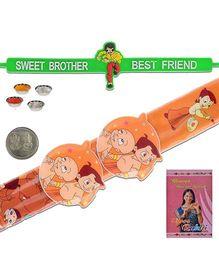 Litte India Chhota Bheem Flexible Strap Design Rakhi And Sweet Brother Quote Rakhi