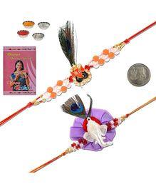 Litte India Ganpati Face Rakhi Pair - Orange And Purple