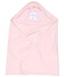 Simply Hooded Wrapper My Little Bear Print - Peach