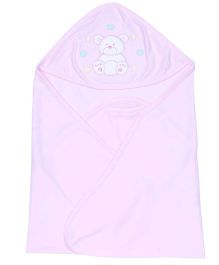 Simply Hooded Wrapper Bear Print - Pink