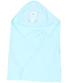 Simply Hooded Wrapper Bear Print - Aqua