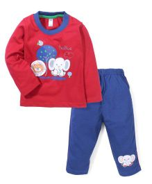 Paaple Full Sleeves T-Shirt and Pant Lion & Elephant Print - Red & Blue