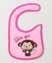 Babyhug Knitted Velcro Bib Little Girl Print - Pink