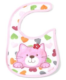 Babyhug Bib Kitty Embroidery - White And Pink