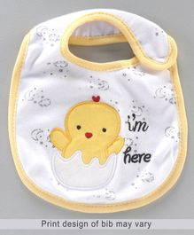 Babyhug Knitted Velcro Bib Chicken Print - Yellow