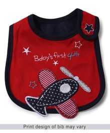 Babyhug Bib Airplane Embroidery - Red