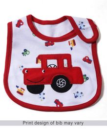 Babyhug Bib Car Embroidery - Red And White