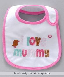 Babyhug Bib Love Mummy Embroidery - White And Pink