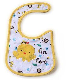 Babyhug Bib Chick Embroidery - White And Yellow