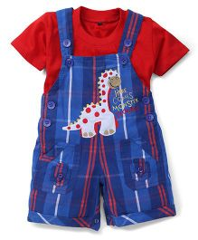 Jash Kids Dungaree Style Romper With Half Sleeves T-Shirt Dinosaur Embroidery - Royal Blue Red