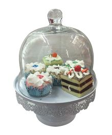 EZ Life Decorative Cake & Dessert Stand With Glass Dome And Metal Filigree - White