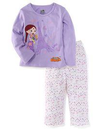 Chhota Bheem Full Sleeves Top And Pajama Chutki Print - Light Purple White