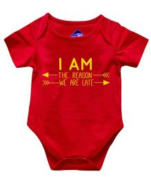 Blue Bus Store I Am Reson Print Onesie - Red