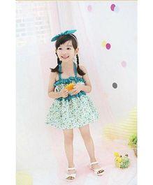 Pre Order : Superfie Dress For Girls - White & Blue
