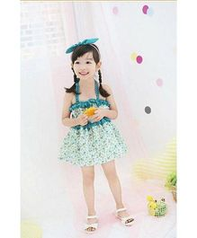 Superfie Dress For Girls - White & Blue