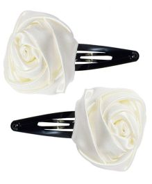 Miss Diva Set Of 2 Rose Snap Clips - White